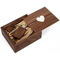 Wooden Walnut 8GB USB Flash Drive - Inserted into Inlaid Heart Veneer Walnut Box with Raffia grass inside. Love Heart Veneer Deisgn