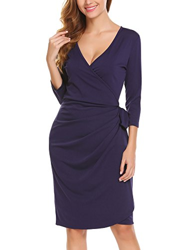 Zeagoo Women's Classic 3/4Sleeve V-Neck Draped Tie-Belt Cocktail Midi Wrap Dress,Navy Blue2,X-Large (Blue Dress Wrap Navy)