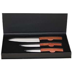CN+ - Estuche con 3 cuchillos de cerámica y mango de madera