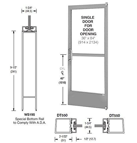 CRL-U.S. Aluminum Class II Clear Anodized Single 36'' x 84'' 250 Narrow Stile Door Left Side Latch Offset Pivot With Panic for Surface Mount Closer- A.D.A. Access Bottom Rail