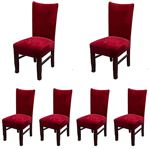 4 Red Set Chairs (Smiry Velvet Stretch Dining Room Chair Covers Soft Removable Dining Chair Slipcovers Set of 6, Wine Red)