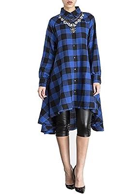 WEIYAN Womens Plaid Long Sleeve Irregular Hem Loose Shirt Dress