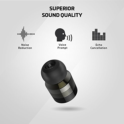 Rowkin Bit Stereo True Wireless Earbuds w/ Charging Case. Bluetooth Headphones, Smallest Cordless Hands-Free In-Ear Mini Earphones Headsets w/ Mic & Noise Reduction for Android and iPhone (Space Gray) by Rowkin (Image #3)