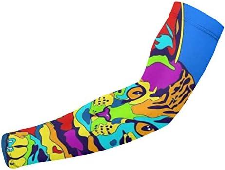 BJAMAJ Leuke Regenboog Kat UV Bescherming Koeling Arm Mouwen Arm Cover Zon Bescherming Voor Mannen Vrouwen Jeugd Prestaties Stretch Vocht Wicking
