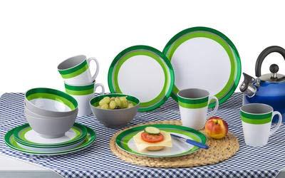 4 Essteller Berger Melamin Geschirrset Greenline 16 teilig bruchunempfindlich 4 Henkelbecher 4 M/üslischalen gr/ün grau wei/ß 4 Dessertteller