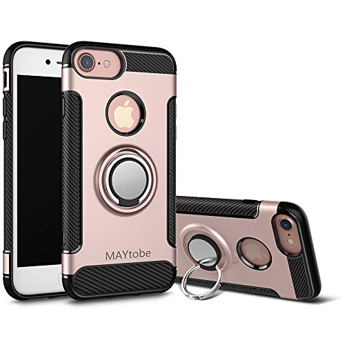 MAYtobe iPhone 8 Case, iPhone 7 Case - Ultra Defender TPU + PC Shock Protective Ring Holder Case for Apple iPhone 8, iPhone 7 (4.7inch) Work with Magnetic Car Mount 360 Rotating - Rose Gold
