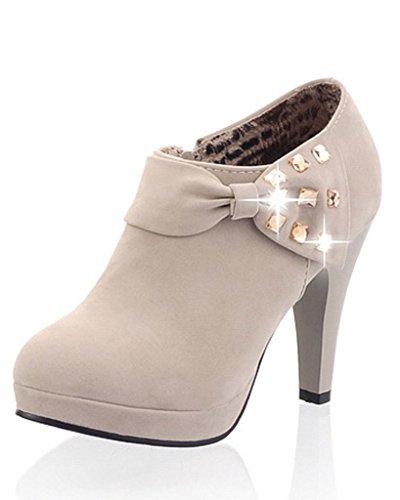 Minetom Mujer Botines Otoño Invierno Botas Del Bowknot Zapatos De Las Bombas Tacón Desnudo Delgado boots Gris