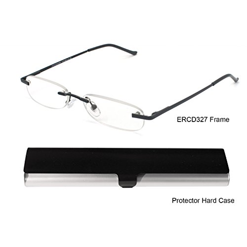 (EYE-ZOOM Metal Rimless Reading Glasses with Spring Hinge Lightweight Slim Black and Silvery Aluminum Case Reader for Comfort Fit Men and Women Choose Your Magnification +3.00)