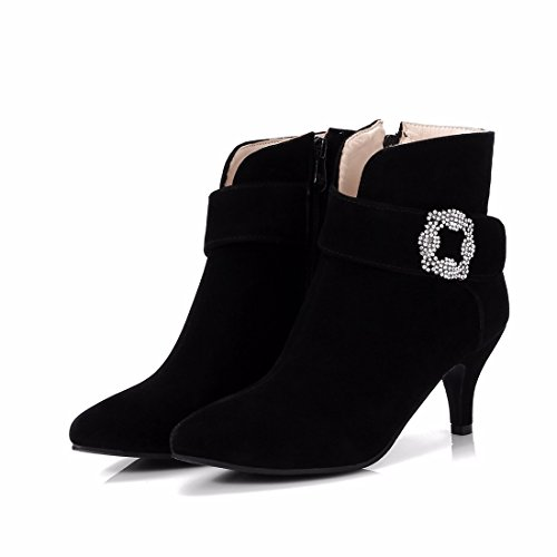 tip Boots high boots size Suede Winter Black female heeled w10dqPPI