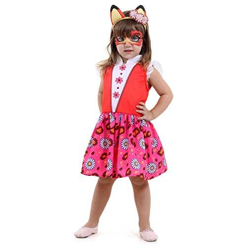 Enchantimals Raposa Infantil Sulamericana Fantasias Vermelho/Rosa 4 Anos