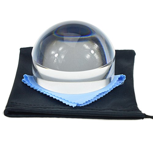 YOCTOSUN 3 Inch Acrylic Dome Magnifier 5X Paperweight Reading Magnifying Glass Optical Half Ball Lens with Nice Box and Polishing Pouch(80mm)