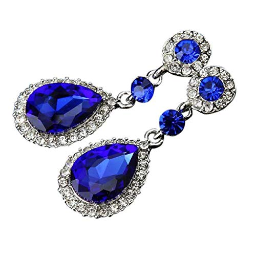 Gorgeous Austrian Cut Crystal Rhinestone Pierced Wedding Bridal Teardrop Drop Dangle Earrings