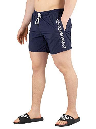 Emporio Armani Men's Vertical Logo Swim Shorts, Blue, M