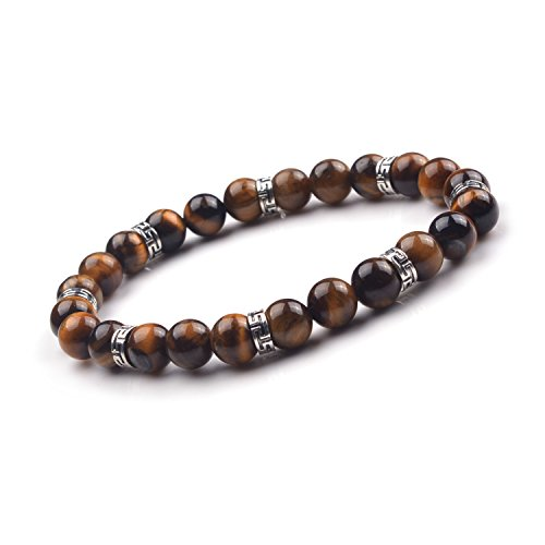 JOYA GIFT Handmade Bracelets with Alloy pieces 8mm Natural Tiger Eye Gemstone Beads for him