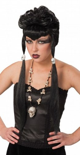 Gothic peluca negro mujer peluca con trenzas Skull gothicperücke Mujer Disfraz Peluca Halloween peluca