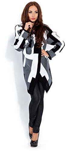 Glamour Empire Para Mujer. Abrigo Chaqueta cascada Cárdigan con caída. 349 Negro Color Bloquear