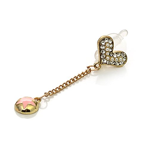 Mavis's Diary Cute Bling Dust Plug Accessories / Cell Charms / Ear Jack for Iphone 6 Series,Samsung Galaxy S6 Series,Galaxy Note 5,HTC M9,LG G4 and Other 3.5mm Earphone Jack Downward(Love Heart Star)