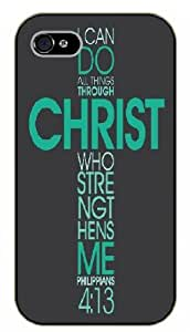iPhone 4 / 4s Bible Verse - I can do all things through Christ. Philippians 4:13 - black plastic case / Verses, Inspirational and Motivational
