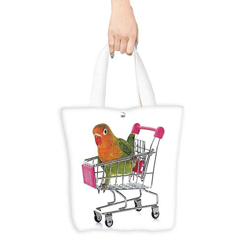 Casual Shopping Tote Bag young fisheri lovebird in trolley in front of white background Reusable 100% Eco Friendly W11 x H11 x D3 INCH ()