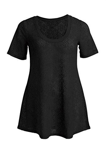 Ellos Women's Plus Size Tunic In Allover Floral Lace Black,3X