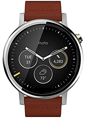 Motorola Moto 360 2nd Gen Smartwatch for Most Apple iOS and Android Cell Phones (Men's, 46mm, Silver w/Cognac Leather)