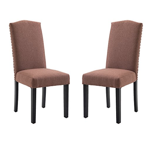 Per-Home Set of 2 Luxurious Fabric Dining Chairs with Copper Nails and Solid Wood Legs (Brown) For Sale