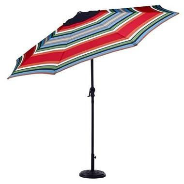 Mosaic 9 Foot Outdoor Patio Round Steel Market Beach Umbrella (Blue/Green Stripe)