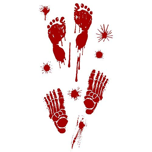 Forthery Halloween Bloody Footprints Floor Clings Vampire Zombie Party Decals Stickers (1PC, B)