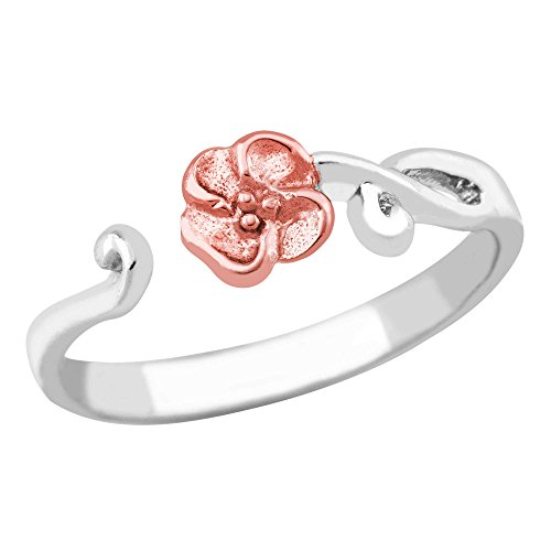 Petite Rose Toe Ring, Sterling Silver, 12k Rose Gold Black Hills Gold Motif