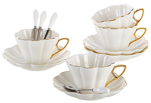 Jusalpha Porcelain Tea Cup and Saucer Coffee Cup Set with Saucer and Spoon FD-TCS07 (4)