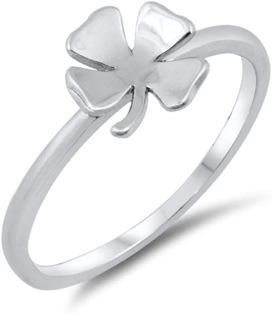Irish Luck Theme Sterling Silver 925 North Arrow Shop Four Leaf Clover Ring