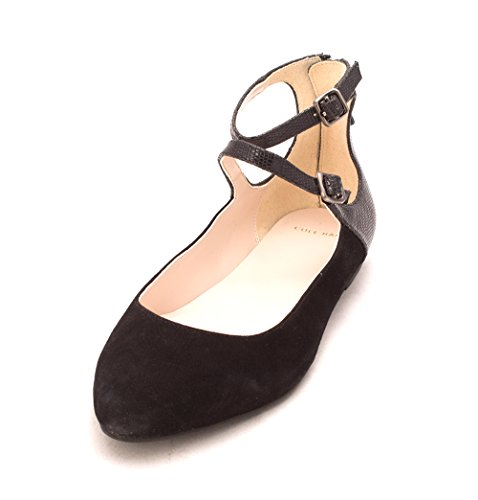 Cole Haan Womens 14A4137 Suede Closed Toe Ankle Strap Slide Flats Black 95ChTFZC