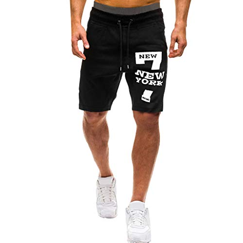 ZEFOTIM Casual Shorts for Men Summer Letters Casual Elastic Joggings Sport Solid Baggy Pockets Short Pant(Black,Medium) ()