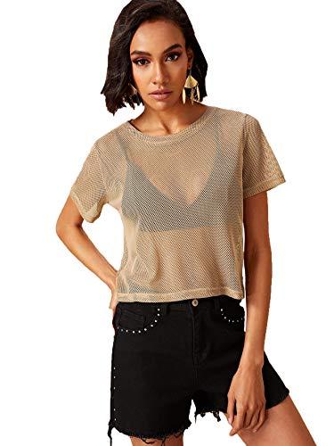 SweatyRocks Women's Sexy Sheer Mesh Fishnet Net Short Sleeve T-Shirt Crop Top (Small, ()