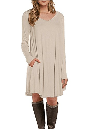 Women Aycox T Loose Casual Dress Beige Caat s Plain shirt Simple q5acdTx