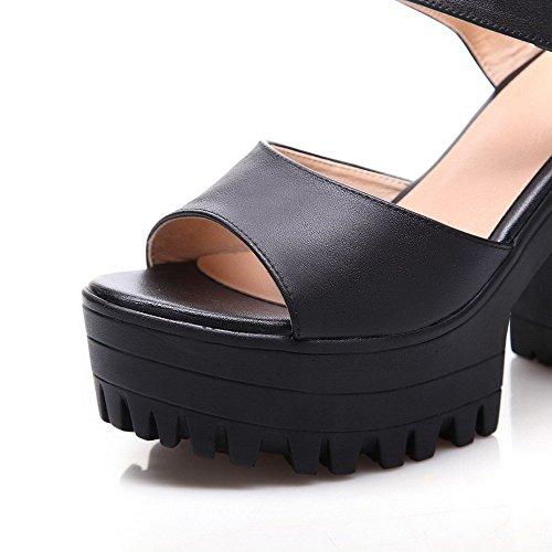 AllhqFashion Mujeres Puntera Abierta Tacón ancho Sintético Sólido Velcro Sandalia Negro
