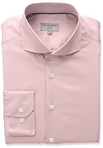 (English Threads Men's Slim Fit Twill Dress Shirt, Light Pink 16.5