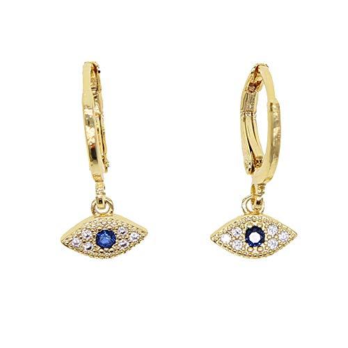 ATJMLADYJEWELRY Minimal Delicate Jewelry White Blue Cz Small Turkish Evil Eye Charm Girl Dangle ()