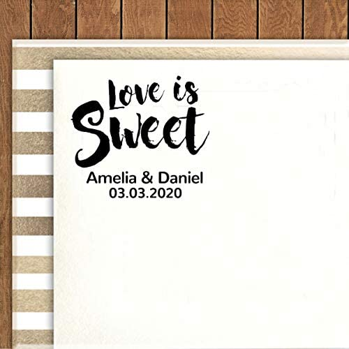 Printtoo Personalized/Heavy Duty Black Self Inking Wedding Favor Round Rubber Stamp Love is Sweet Custom/Stamper-40 mm