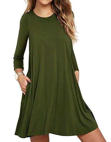 Army Dress (LILBETTER Women's Casual Plain Simple Pocket T-shirt Loose Dress (Army green XL))