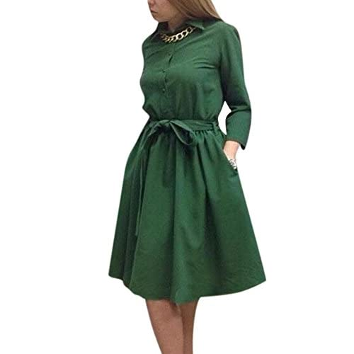 Nice Enlishop Women's Vintage Long Sleeve Casual A Line Shift Dress with Belt supplier