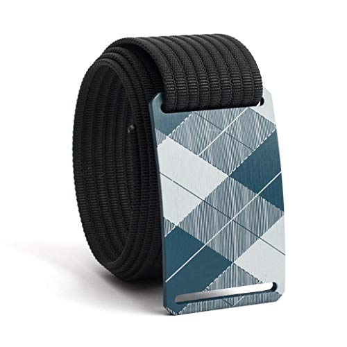 - 42 Inch Blue Plaid Belt Buckle w/Black Strap