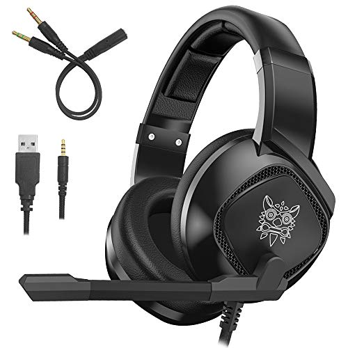 K-19 Gaming Headset Compatible PS4 New Xbox one PC Mac, Over-Ear Headphones with Mic Noise Isolating Deep Bass Surround with LED Lights by AFUNTA