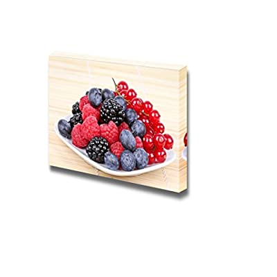 With a Professional Touch, Dazzling Object of Art, Closeup of Assortment of Sweet Berries on White Plate Wall Decor