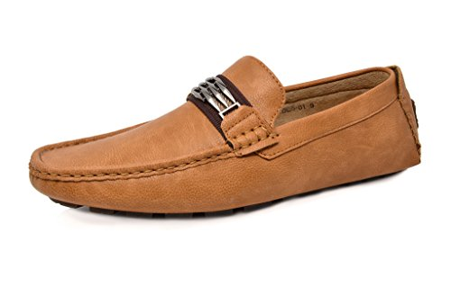 Bruno Marc Moda Italy KENDO-01 Men's Classy Fashion On The Go Driving Casual Loafers Boat Shoes Tan Size 9.5