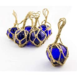 Beach Themed Christmas Ornaments Cobalt Glass Float Balls | Fishing Buoy Balls 2″ | Perfect for Beach Weddings or as Christmas Ornaments | Plus Free Nautical eBook by Joseph Rains (6 Pack) beach themed christmas ornaments