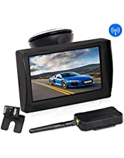 """AUTO-VOX W1 Wireless Backup Camera Kit 4.3"""" LCD Monitor+ IP 68 Waterproof Rear View License Plate Reverse Back up Car Camera with LED Super Night Vision for Cars,Truck,Van,Caravan,Trailers,Camper"""