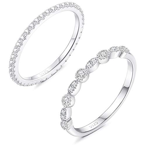 Sllaiss 925 Sterling Silver CZ Engagement Rings for Women Cubic Zirconia Wedding Rings Eternity Band Anniversary Jewelry Size ()
