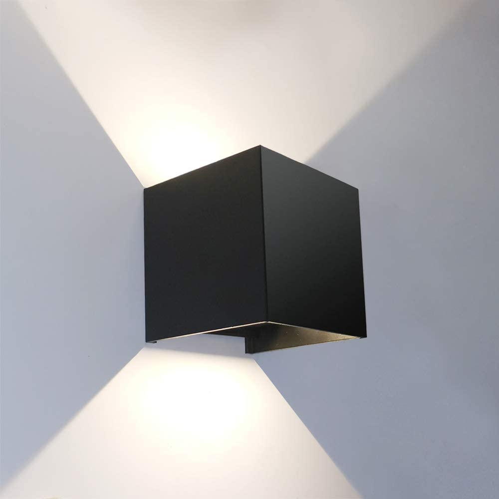 Amazon Com Yima Square Led Wall Lamp Aluminum Cube Wall Sconces Angle Adjustable Waterproof For Outdoors Outside Garden Gallery Exterior Lighting Fixtures For Inside Balcony Stairs Corridor Decoration Black Home Improvement