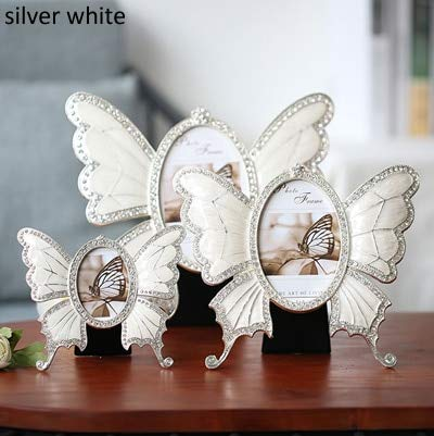 Glass figurines Picture Frame - Butterfly Shaped Shiny Silver Plating with White Hand Painted and Rhinestones Jeweled 2.5x3.5 inches Oval Metal Picture Frame